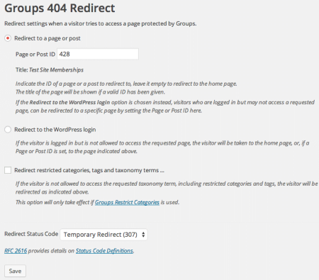 Groups 404 Redirect non members
