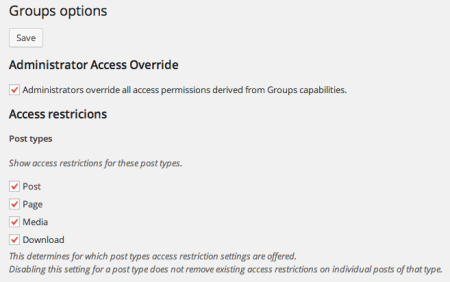 Groups Restriction Options