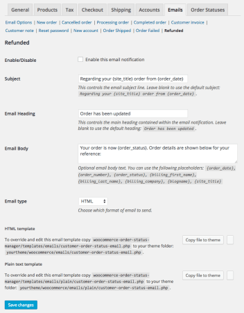 WooCommerce Order Status Manager: edit email