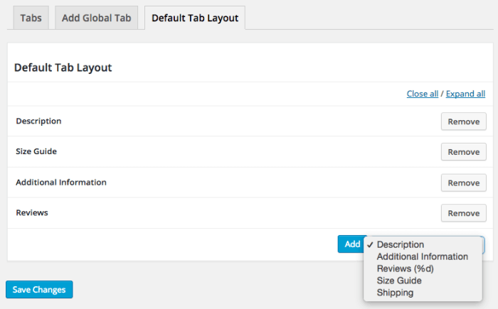 Add WooCommerce size guide tab to default