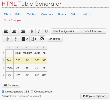 Generate HTML table