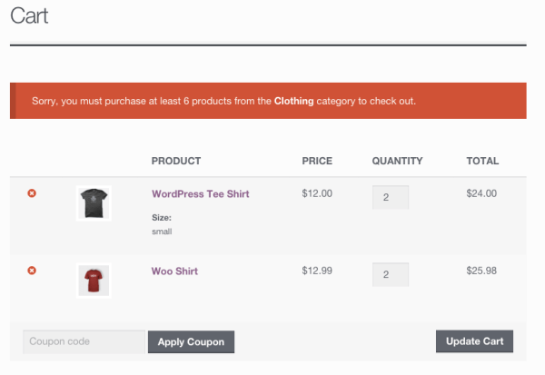 WooCommerce category minimum notice at checkout