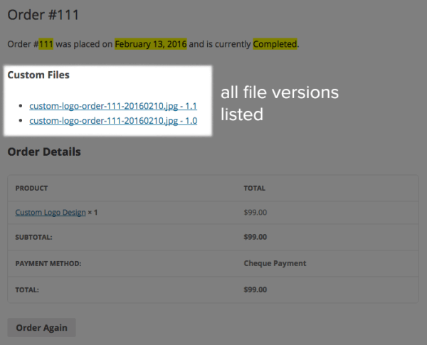 Sell Custom Files with WooCommerce: View Order custom file list