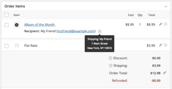 WooCommerce Gift Subscriptions: view order
