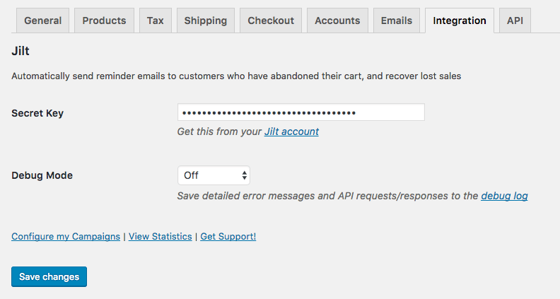 Jilt for WooCommerce connected