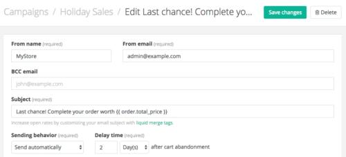 Jilt app: order total in email subject