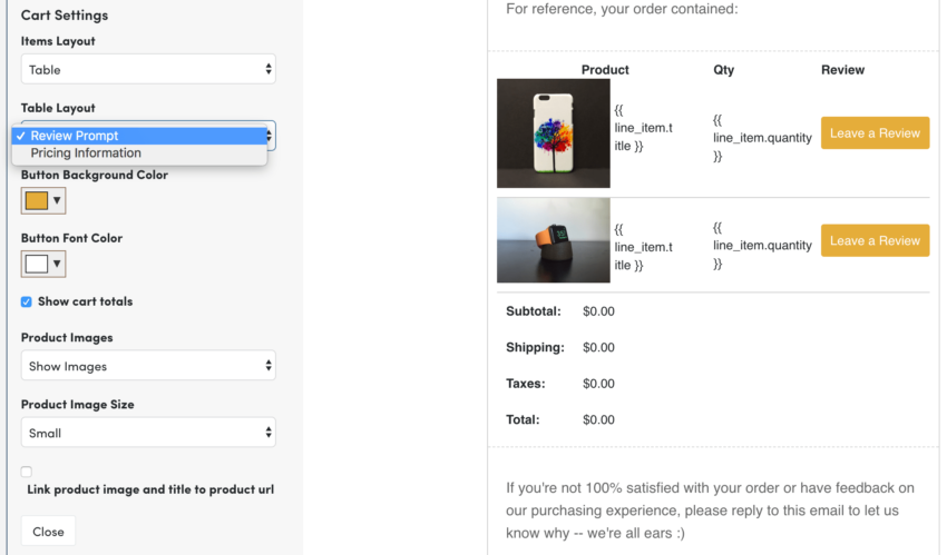 Jilt product table layout