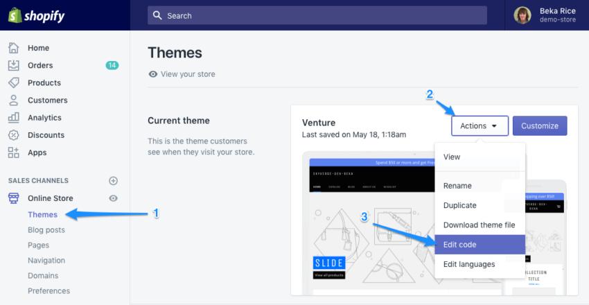 Shopify edit theme code