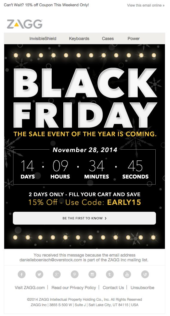 Black Friday and Cyber Monday email campaigns