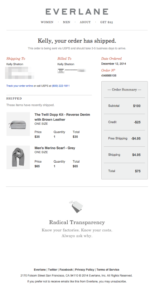 Shipping confirmation emails