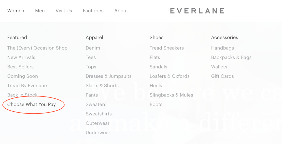 Everlane's Choose What You Pay section.