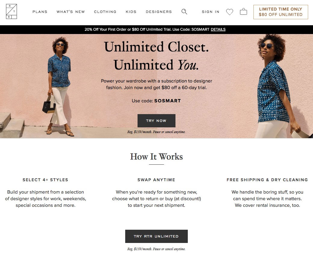 Rent the Runway's Unlimited option is popular with customers looking to keep clothes indefinitely but temporarily.