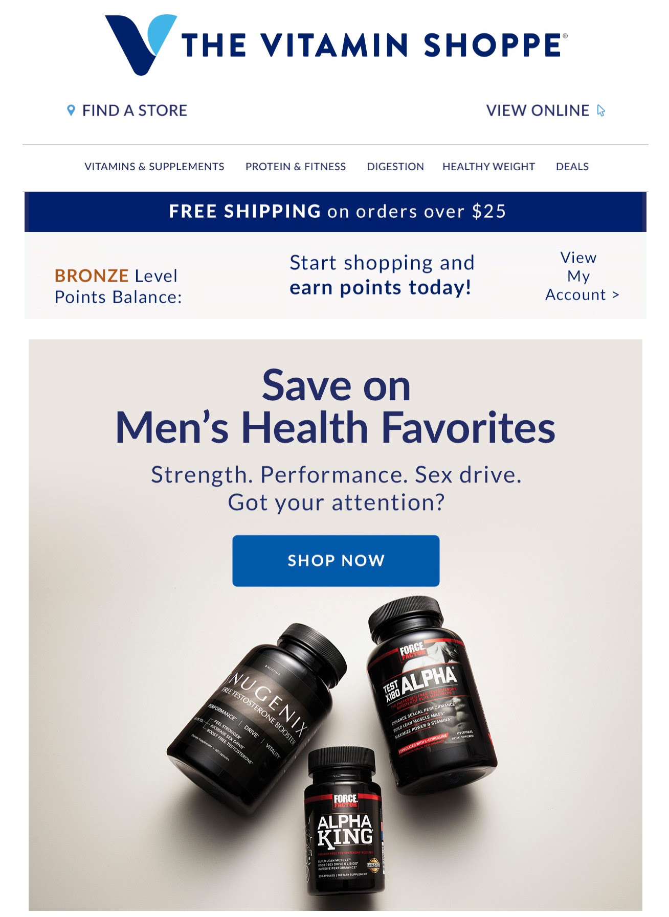 A segmented email to men from the Vitamin Shoppe.