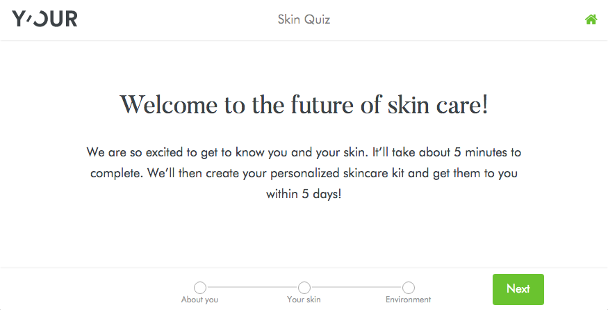 Y'Our Skin's quiz to figure out a personalized skin care regimen.