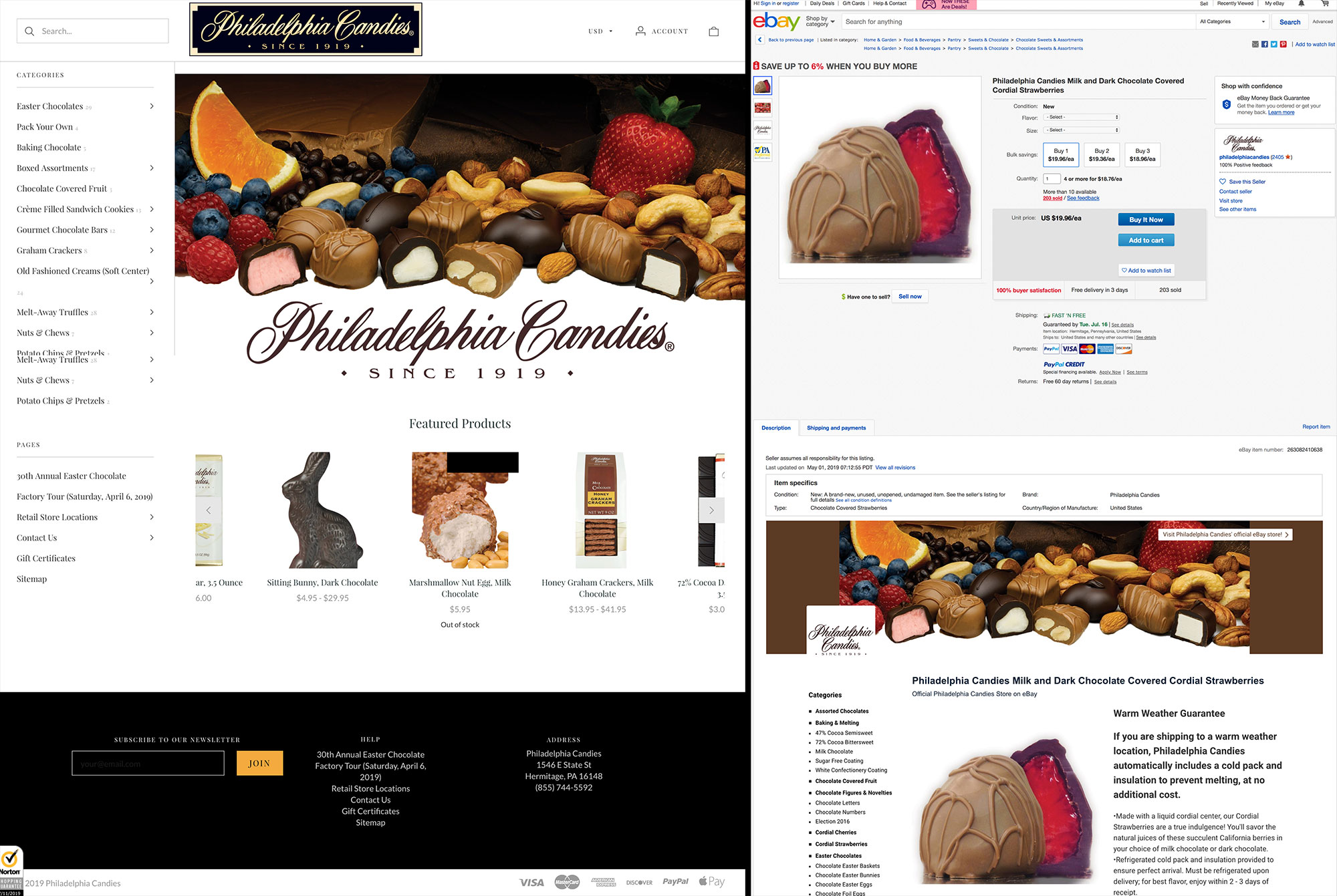 Philadelphia Candies website versus eBay.