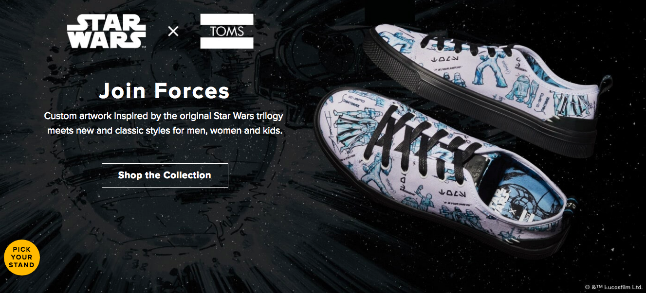 TOMS Star Wars ad.