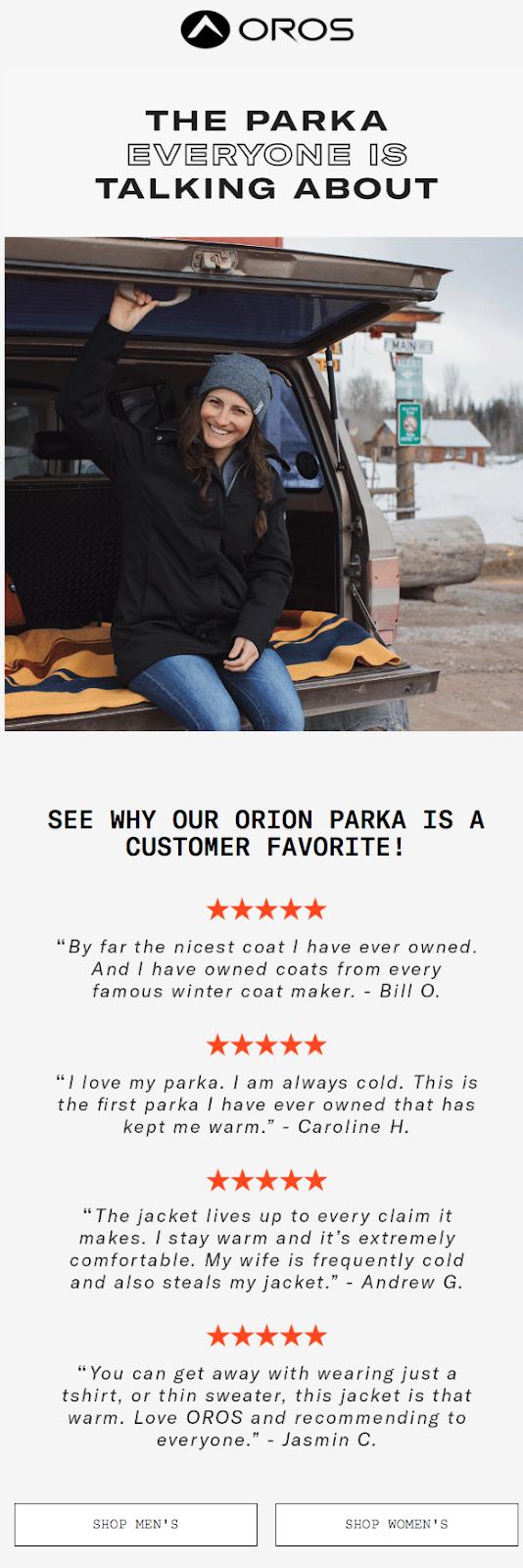 Oros uses testimonials on its parkas.