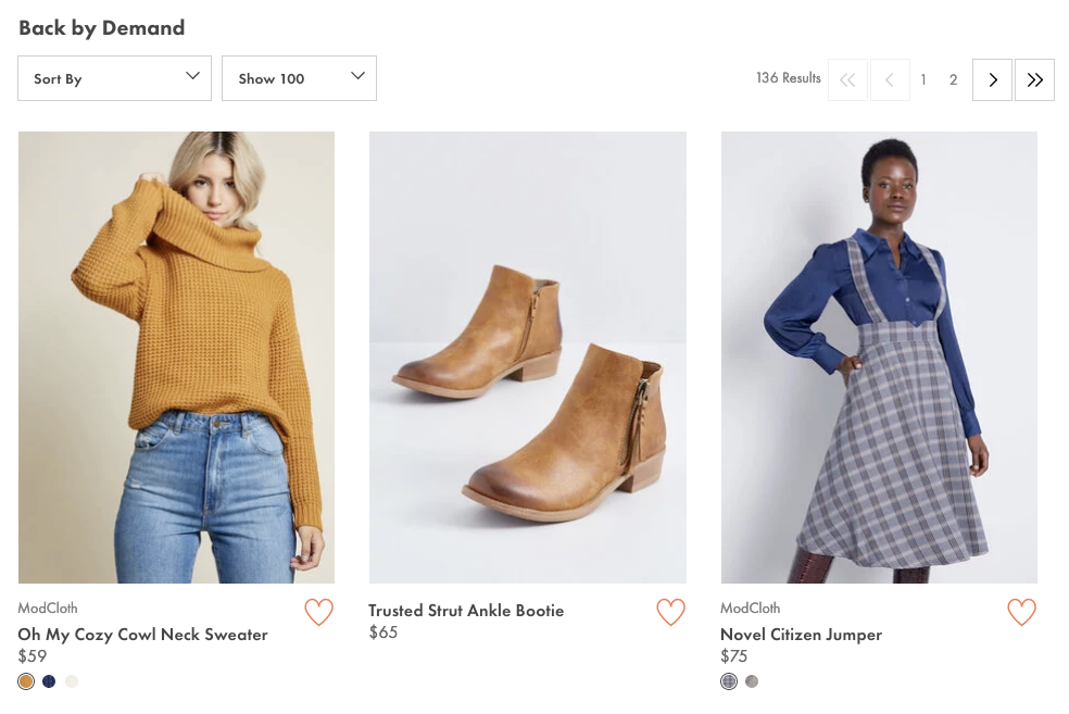 ModCloth's back by demand section.