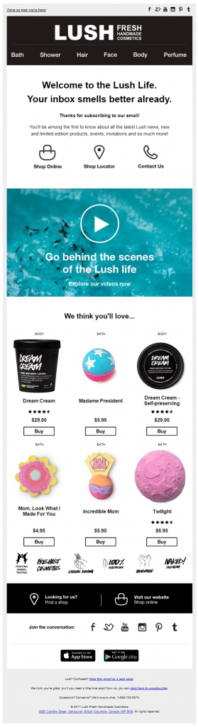 Lush recommends products in its welcome email.