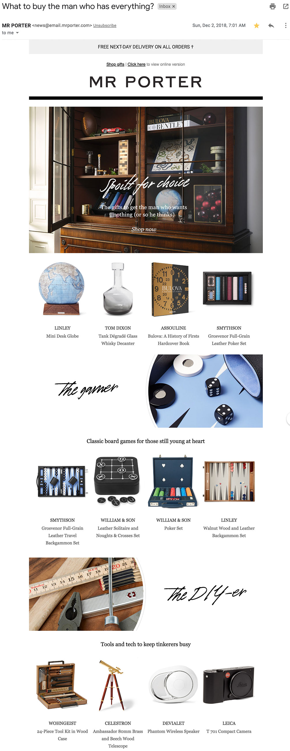 Mr. Porter's gift guide for men.