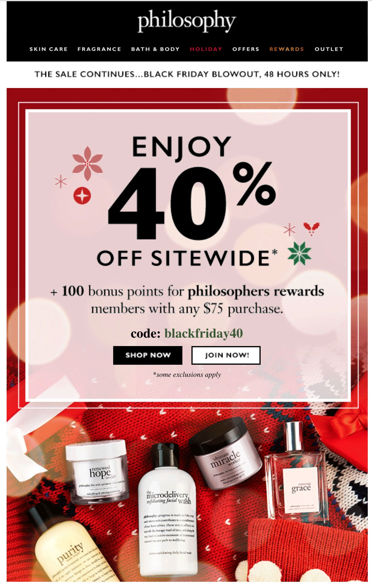 Philosophy pushes its rewards program.