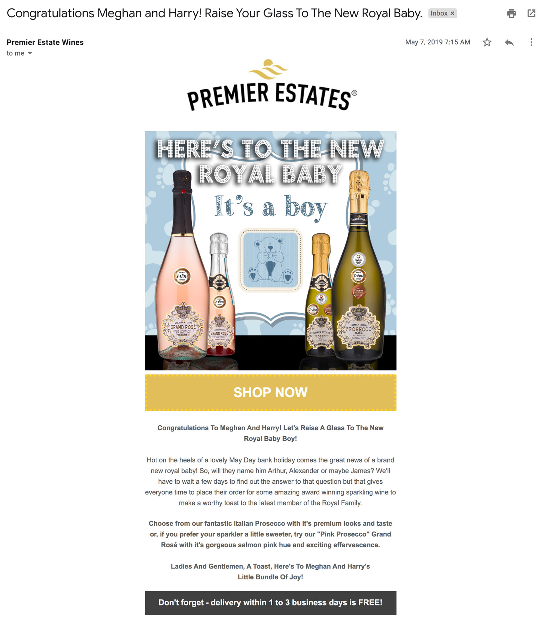 Premier Estates Wines ties into the birth of the royal baby.