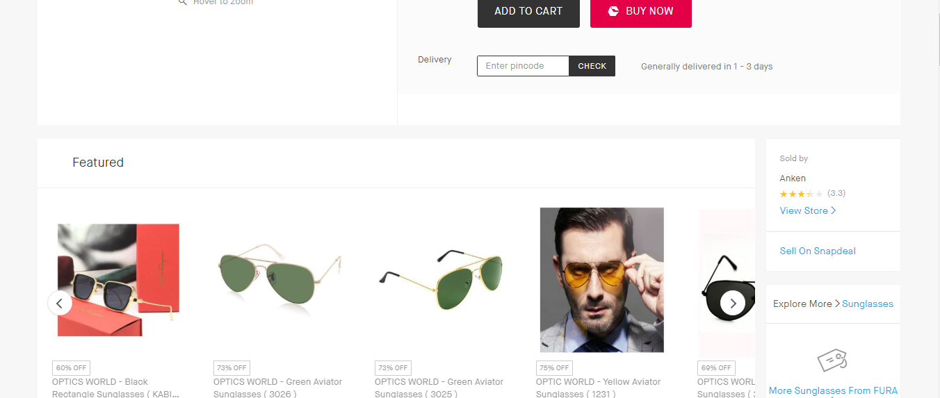 SnapDeal showcases product recommendations on its product page.