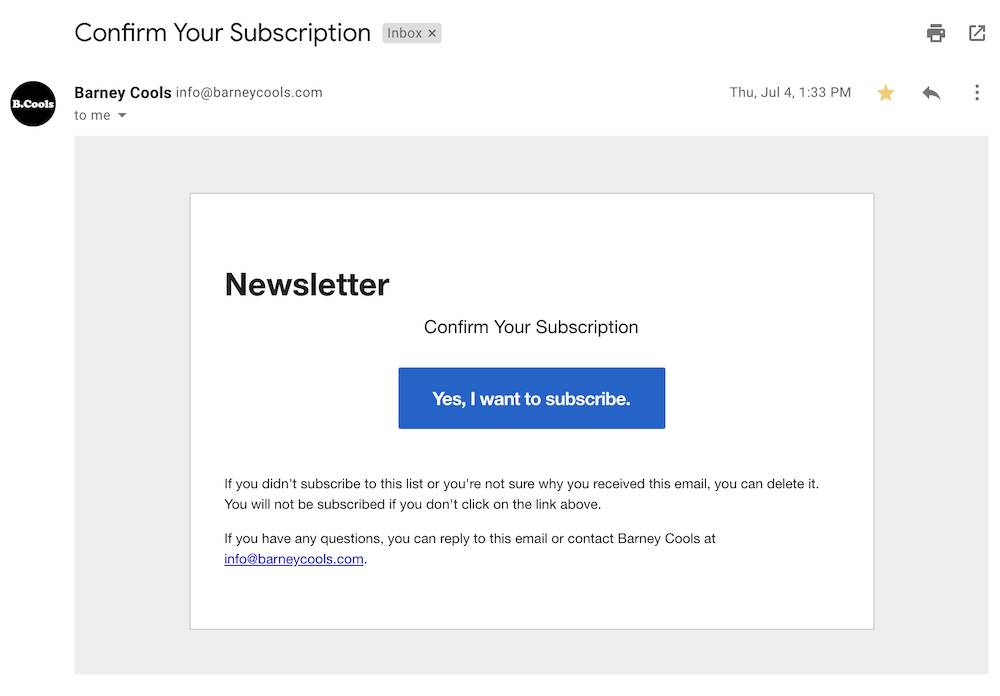 A double opt-in email.