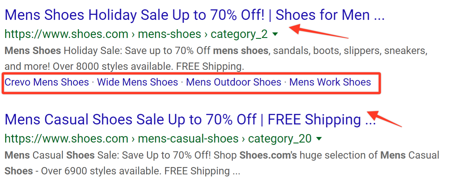 Shoes.com example of different head keywords.