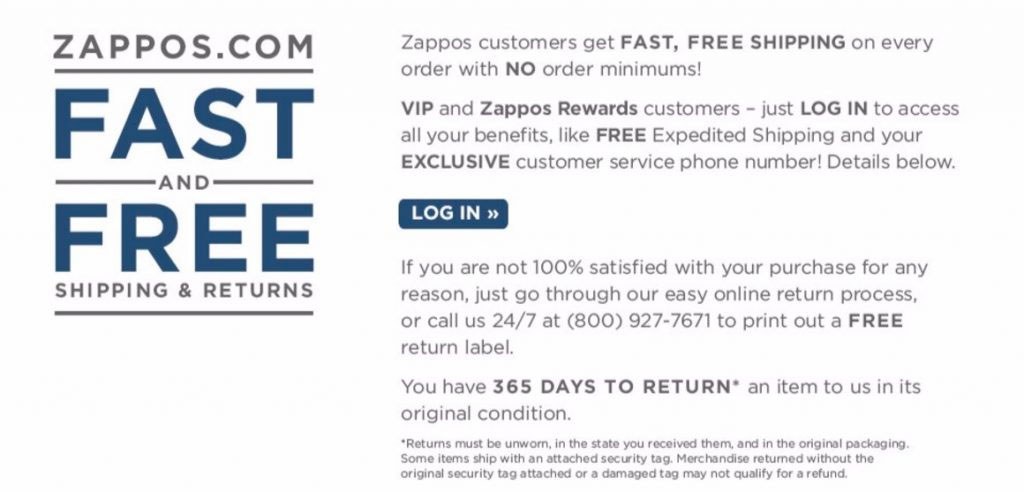 Zappos has a very generous return policy.