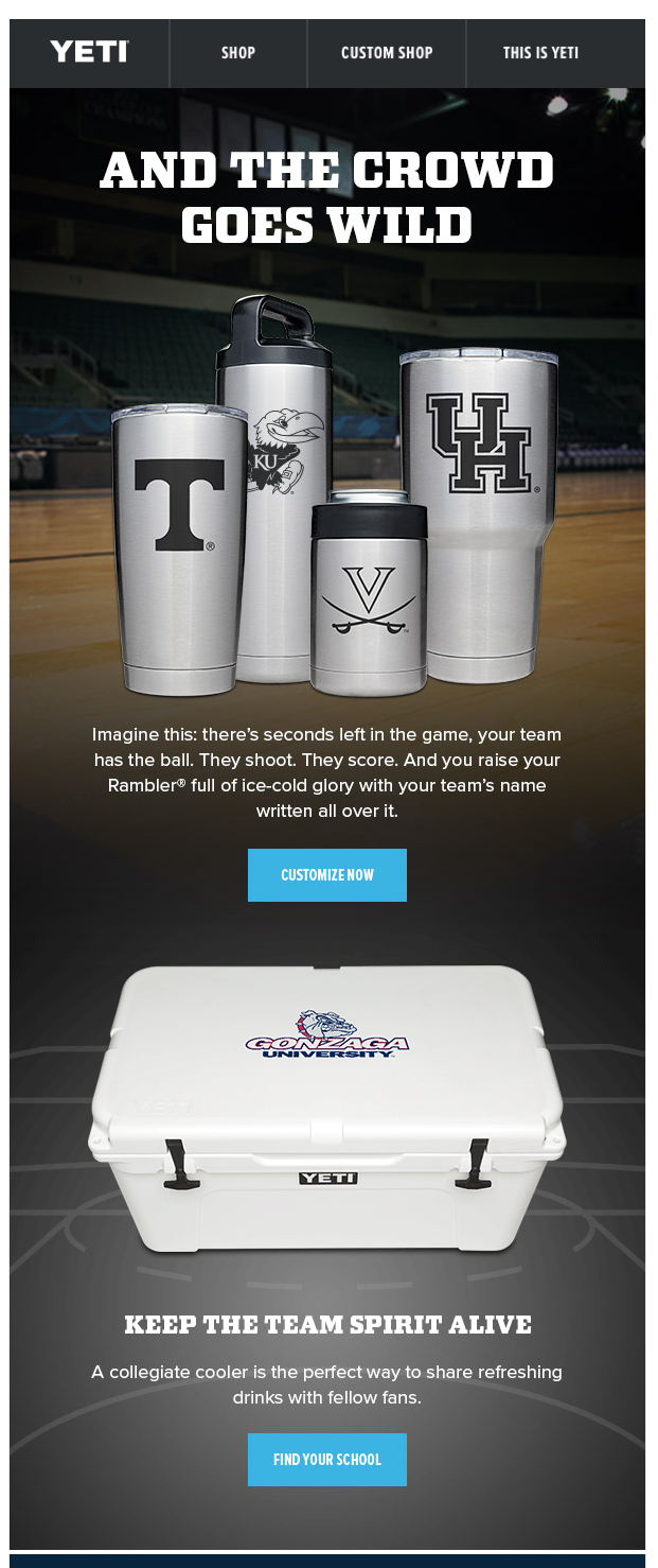 YETI's Gen Z-friendly email.