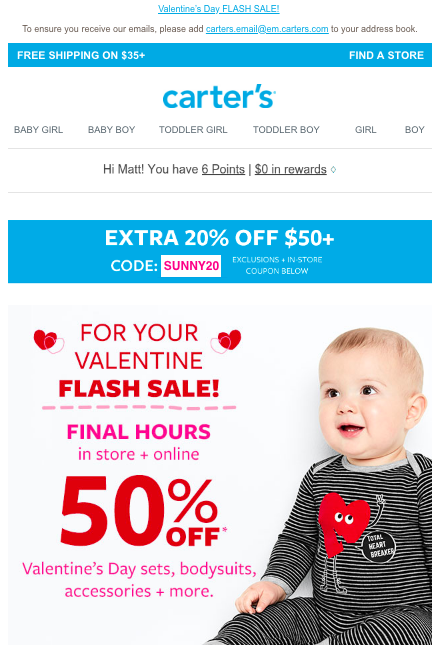 An email from Carter's that makes judicious use of red and pink.