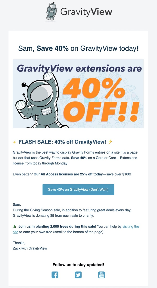 GravityView BFCM email.