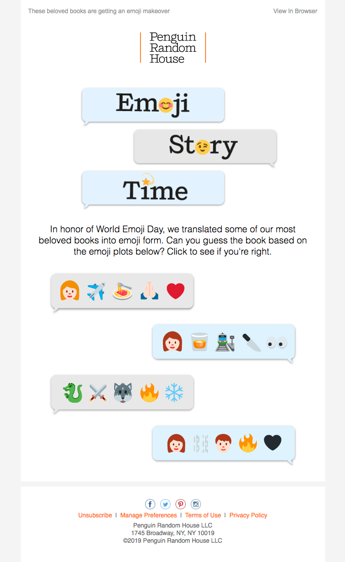 Penguin Random House email using emojis.