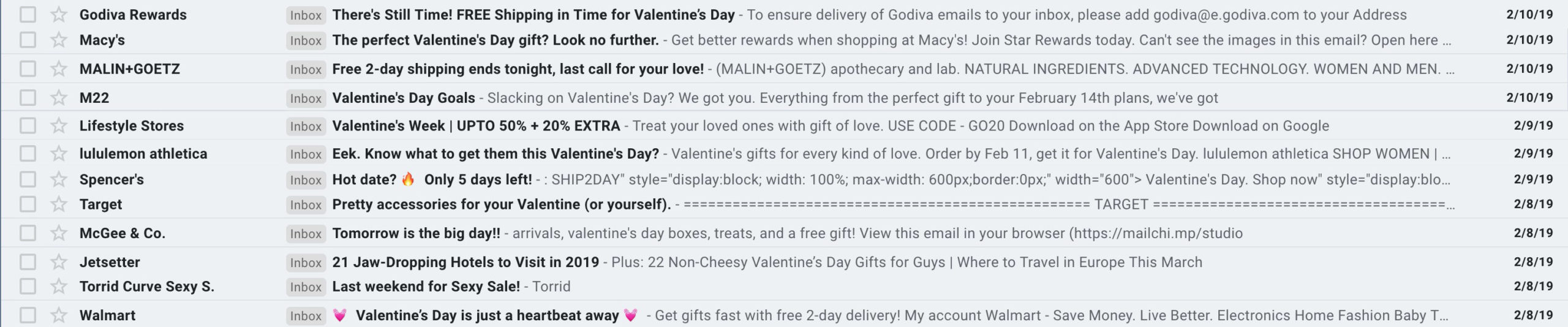 Valentine's Day emails with a sense of urgency.
