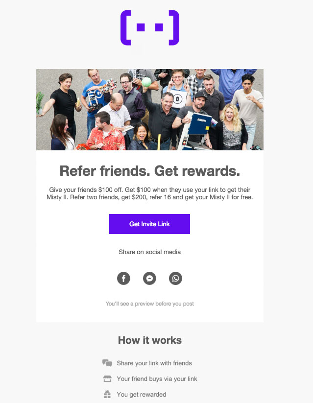 Misty Robotics' referral email.