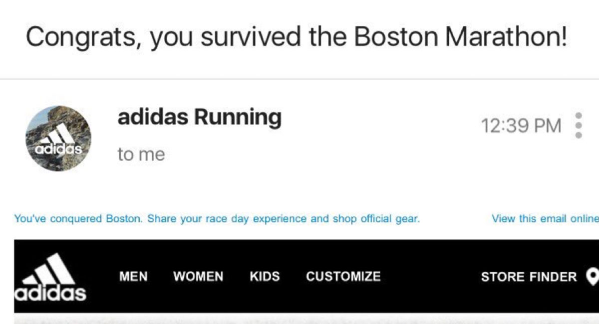 Adidas's very misguided subject line.