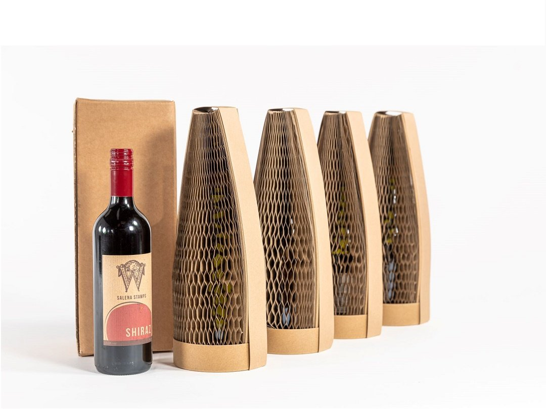 Biodegradable wine packaging.