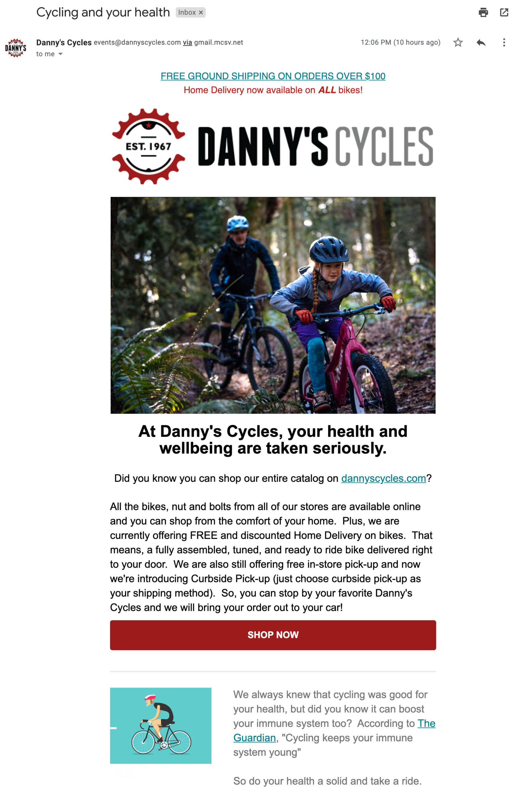 Danny's Cycles emails around physical wellbeing.