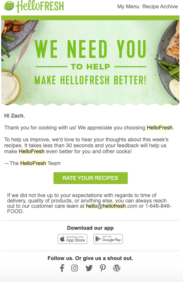HelloFresh's request for feedback.