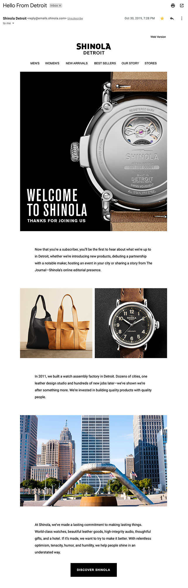 Shinola's welcome email introducing the brand.