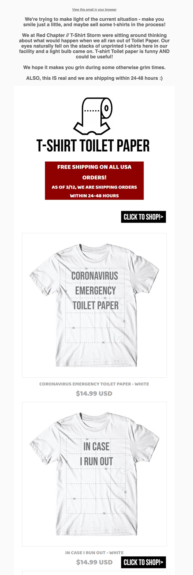 Red Chapter Clothing makes t-shirt toilet paper.