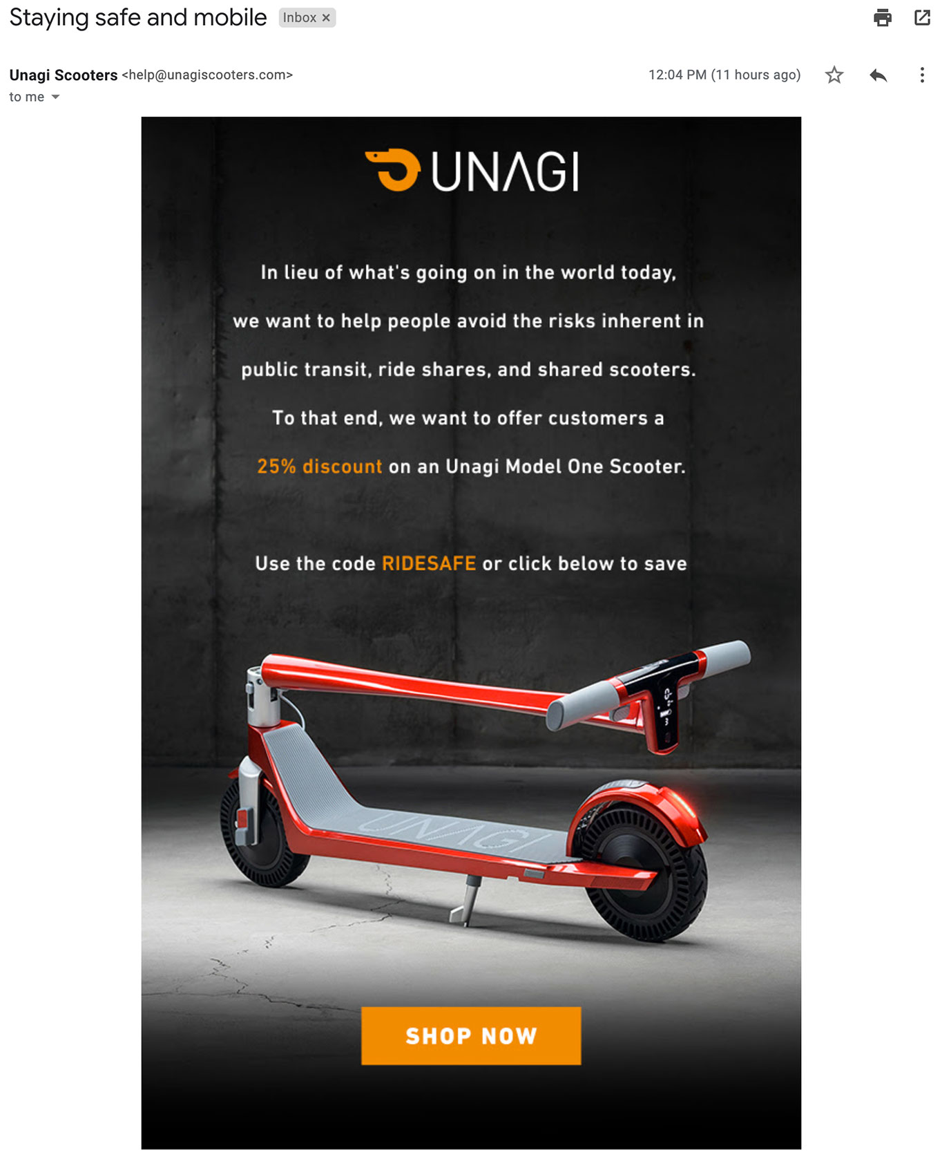 Unagi Scooters with a suggestion for alternative transportation.
