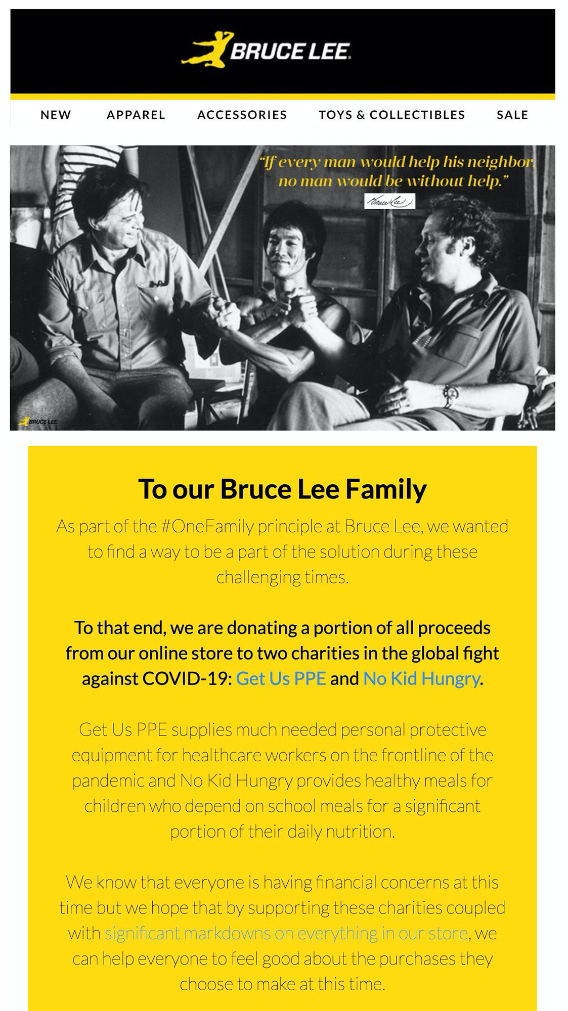 The Bruce Lee website donates a portion of sales to charities.
