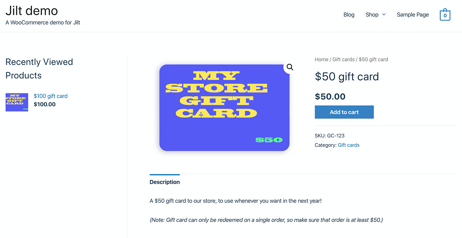 The $50 gift card in store.