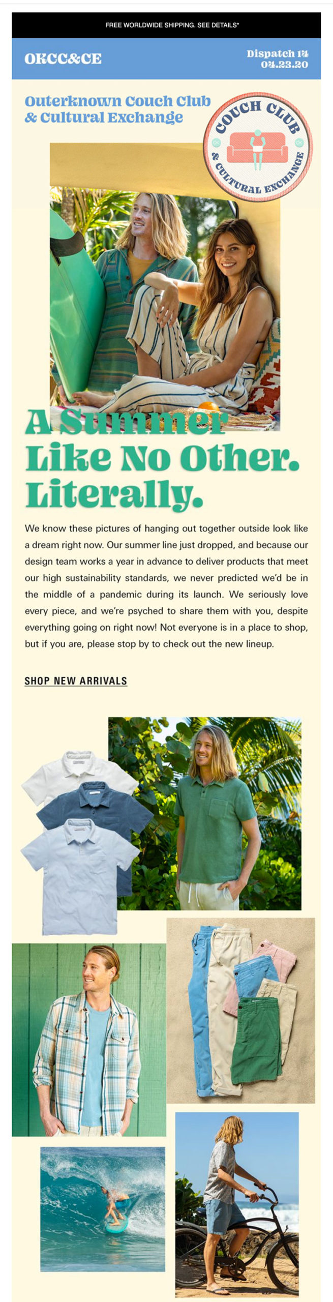 Outerknown shifts their summer product launch imagery.