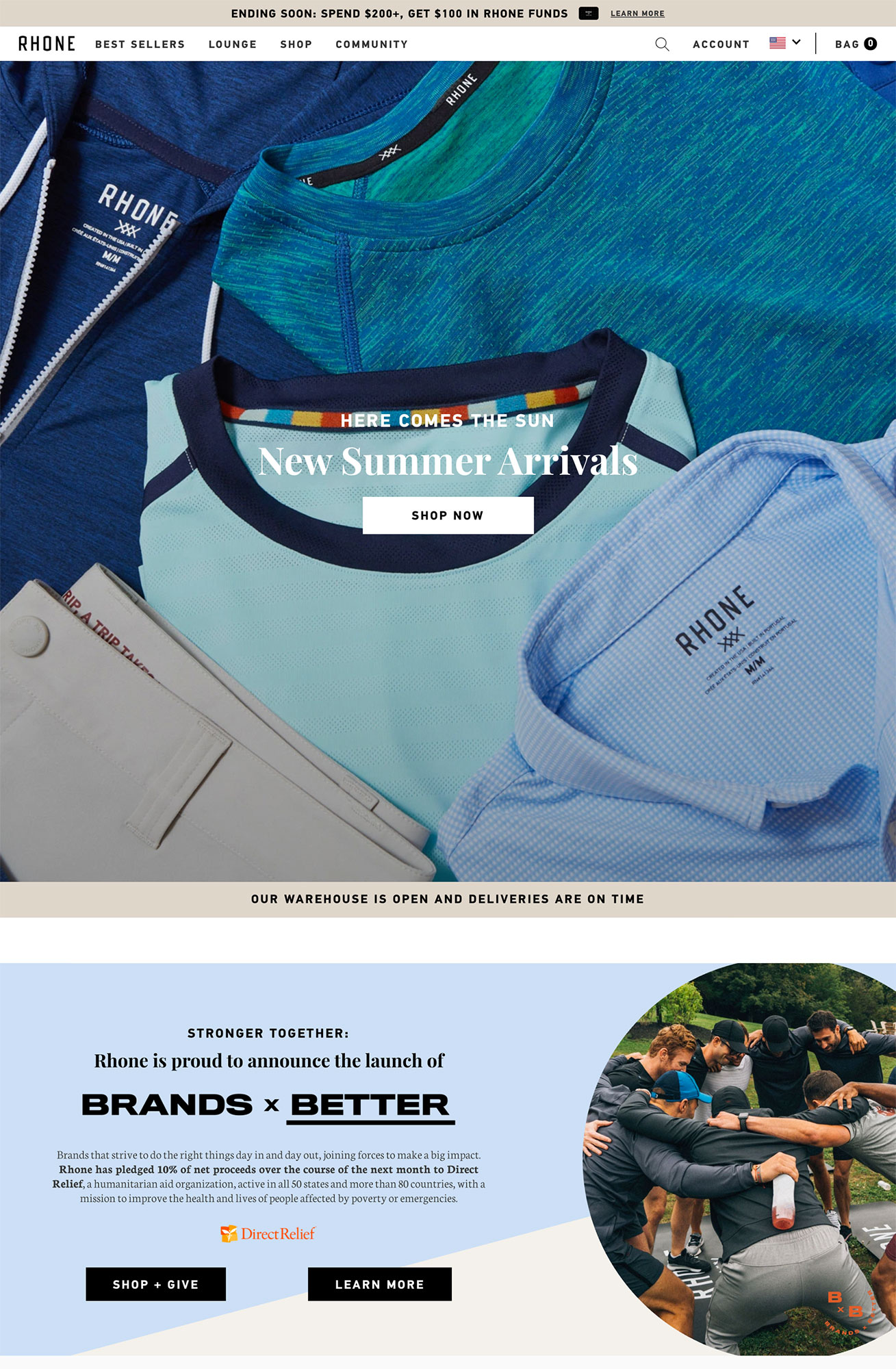 Rhone promotes its summer line and its charitable initiative.
