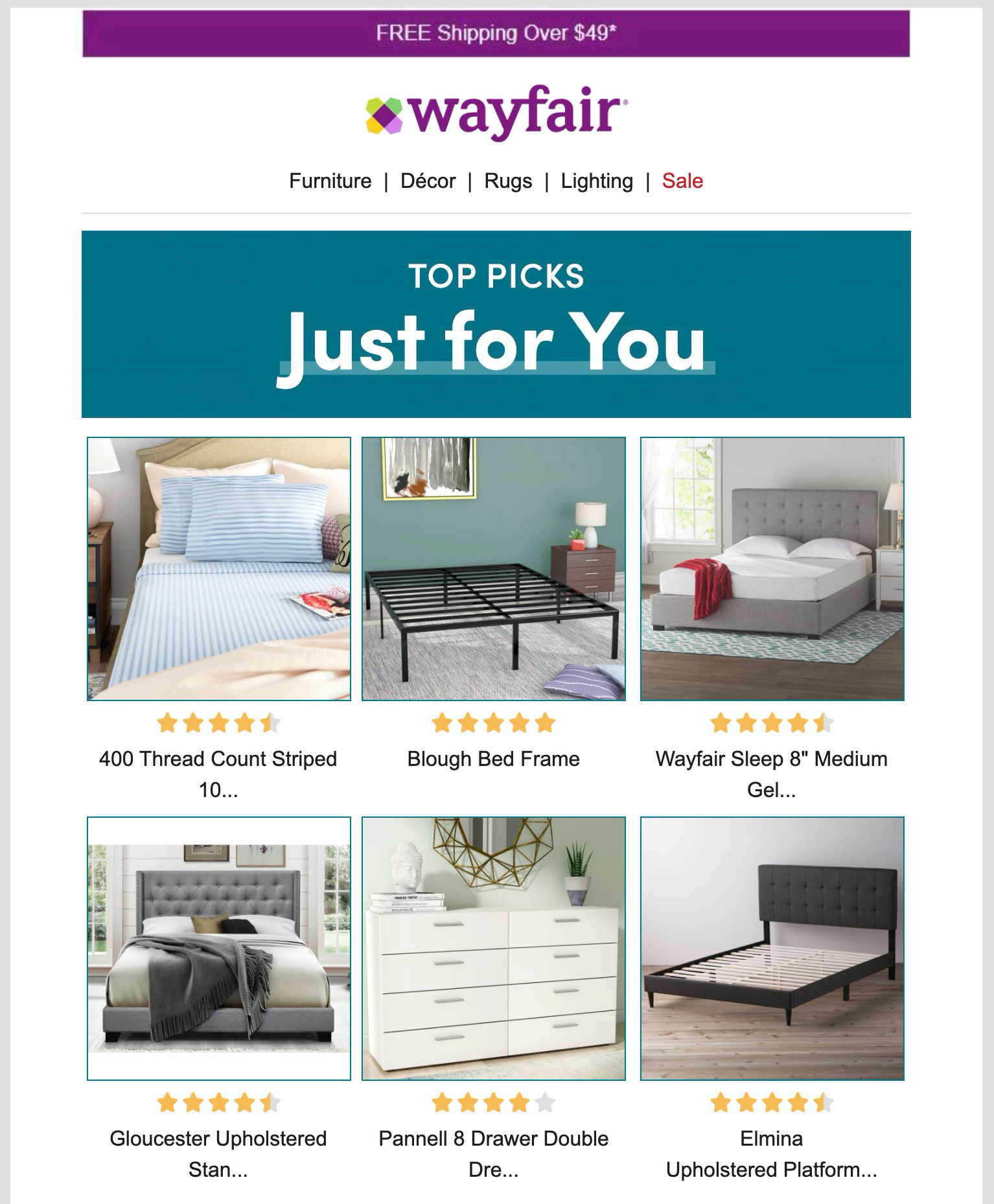 Wayfair's personalized picks.