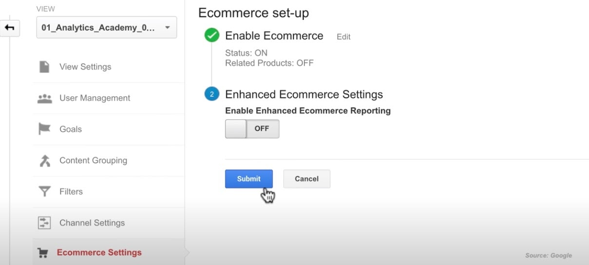 How to enable Enhanced eCommerce in Google Analytics.