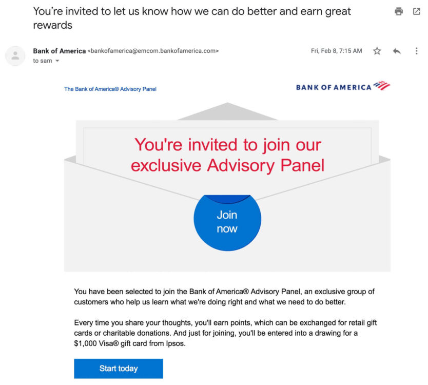 An invite to an advisory group.